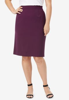 Bi-Stretch Pencil Skirt, DARK BERRY
