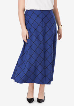Wool-Blend Maxi Skirt, ULTRA BLUE WINDOW PANE