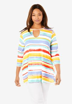 Keyhole Swing Tunic, MULTI WATERCOLOR STRIPE