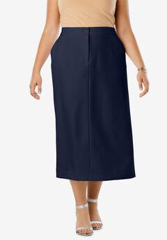 Tummy Control Bi-Stretch Midi Skirt, NAVY