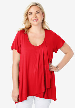 Drape Front Tunic, HOT RED