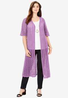 Scalloped Crochet Sweater Duster,