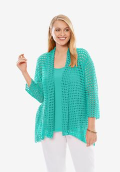 Crochet Cardigan Sweater, ISLAND AQUA