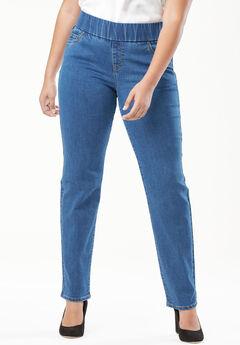 Comfort Waistband Jeans, MEDIUM STONEWASH