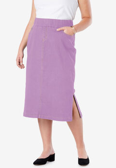 Comfort Waist Midi Skirt, AMETHYST