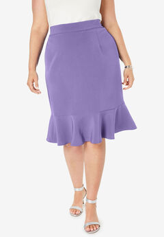 Flounced Bi-Stretch Skirt, VINTAGE LAVENDER