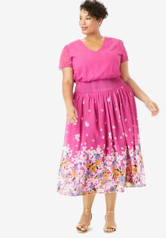 Smocked Midi Dress, TROPICAL FLORAL BORDER