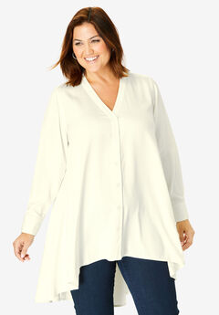 Hi-Low Georgette Tunic, IVORY