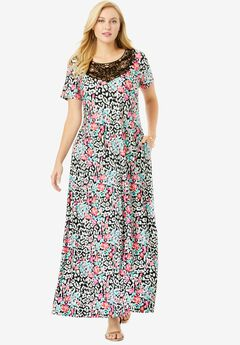 Applique Maxi Dress, FLORAL ANIMAL