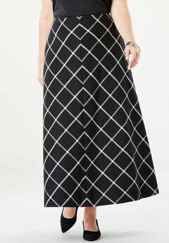 Wool-Blend Maxi Skirt, BLACK WINDOW PANE
