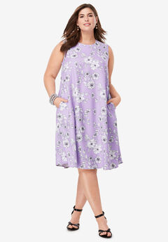 Back Pleat Dress, BRIGHT LILAC BOTANICAL