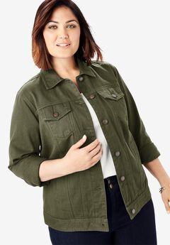 Classic Cotton Denim Jacket, DARK OLIVE GREEN