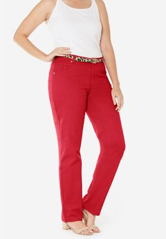 Classic Cotton Denim Straight Jeans, BRIGHT RUBY