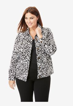 Classic Cotton Denim Jacket, BLACK GRAPHIC ANIMAL