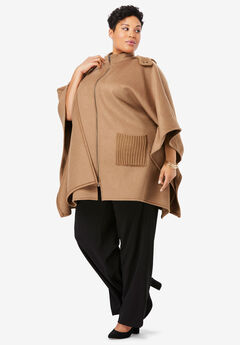 Wool Cape Coat, BROWN MAPLE