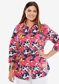 Poplin Shirt, PASSION PINK BOTANICAL PRINT