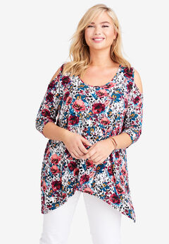 Handkerchief Hem Tunic, WHITE SPLASH FLORAL
