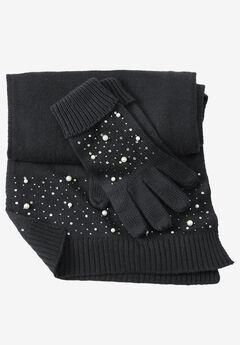 Cotton Cashmere Scarf and Glove Set, BLACK