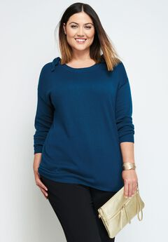 Fine Gauge Cold Shoulder Sweater,