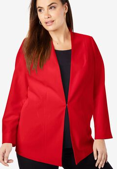 Collarless Bi-Stretch Blazer, HOT RED