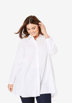 Soft Fit & Flare Tunic, WHITE
