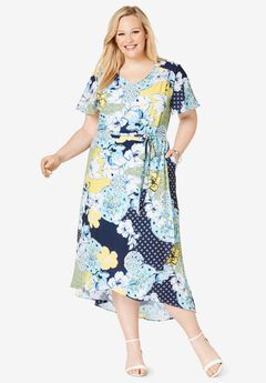 Faux Wrap Hi-Low Maxi Dress, NAVY TROPICAL GEO