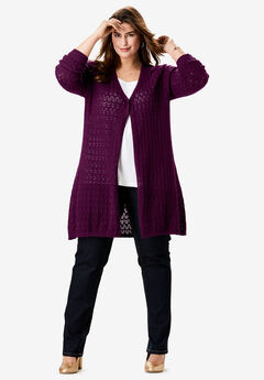 Pointelle Cardigan, DARK BERRY