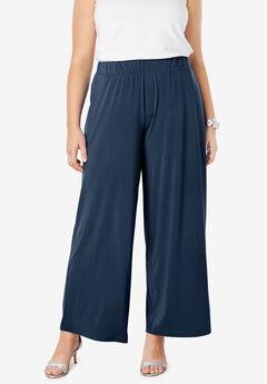 Travel Knit Wide Leg Pants, NAVY