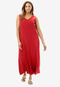 High-Low Crinkle Maxi Dress,