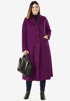 Full Length Wool Blend Coat, DARK BERRY