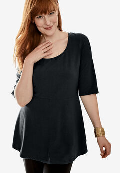 Peplum Top, BLACK
