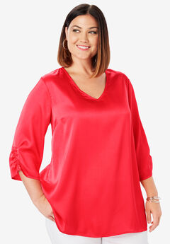 Satin V-Neck Blouse, HOT RED