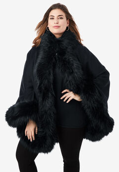 Faux Fur Trim Cape, BLACK