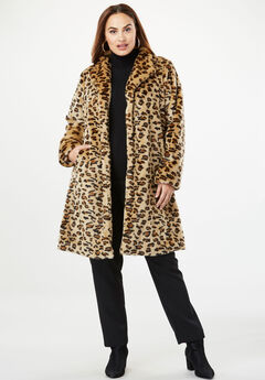 Faux Fur Swing Coat, LEOPARD PRINT