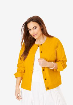 Collarless Denim Jacket, SUNSET YELLOW