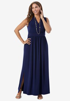 Travel Knit V-Neck Maxi Dress, NAVY