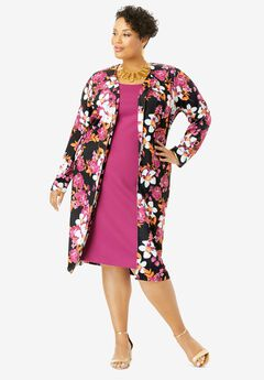 Ponte Jacket Dress, BLACK FLORAL GARDEN