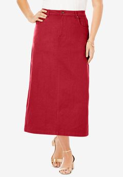 Classic Cotton Denim Long Skirt, CLASSIC RED