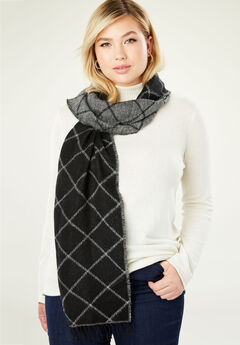 Long Scarf, BLACK BIAS WINDOW PANE