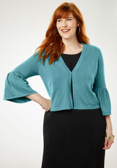 Bell Sleeve Sweater Shrug, DUSTY AQUA