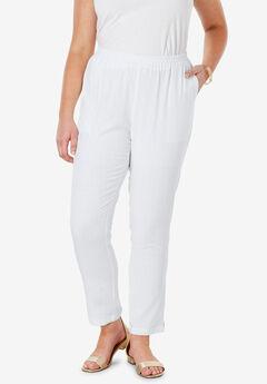 Linen Ankle Pant, WHITE