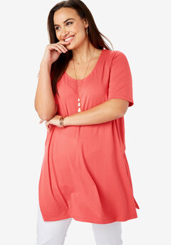 Mega Knit Tunic, SUNSET CORAL