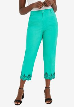 Stretch Poplin Straight-Leg Crop Pant, AQUA SEA EMBROIDERY