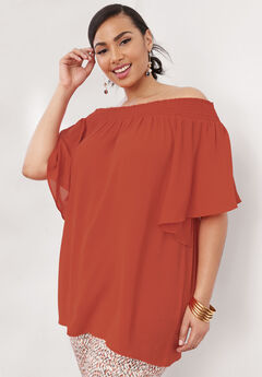 Off the Shoulder Tunic, BURNT RED