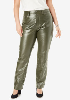 Straight Leg Leather Pants, DARK OLIVE GREEN