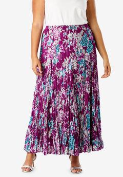 Cotton Crinkled Maxi Skirt, PLUM PURPLE BLOSSOM