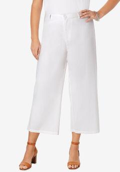 Wide Leg Poplin Crop, WHITE