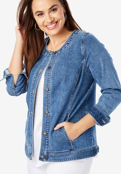 Collarless Denim Jacket, MEDIUM STONEWASH