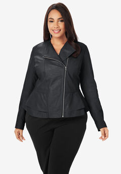Collarless Leather Peplum Jacket, BLACK