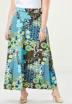 Everyday Knit Maxi Skirt, AQUA MIXED PATTERN